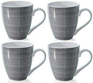 Sketch Set of 4 Mugs Porcelain Extra Large Coffee Soup Hot Cocoa Mugs Grey