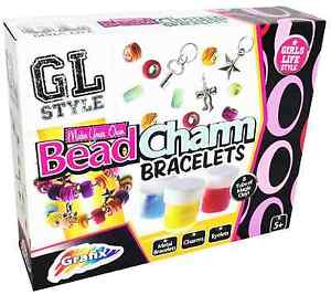 Make Your Own Bead Charm Friendship Bracelets DIY Kit 8 Tubs Glitter Clay 166623