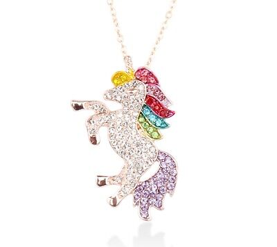 Rhinestone Rainbow Unicorn Necklace Girls Women Fashion Jewelry Rose gold - Girl Necklace