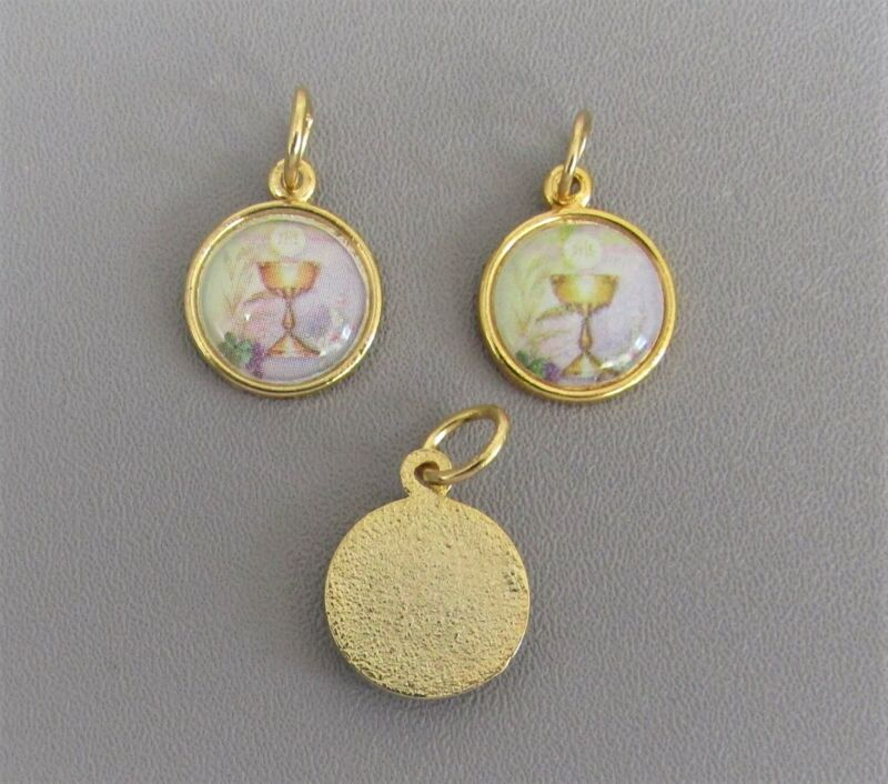 3 pc First 1st Holy Communion Chalice Charm ITALY Medal Rosary SMALL A109 GOLD