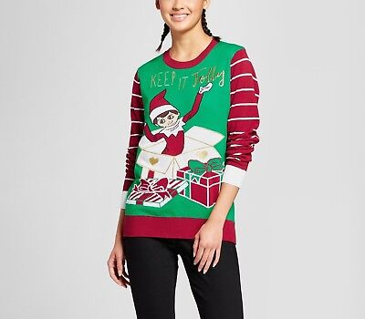 New NWT womens L or XL Elf on the Shelf Ugly Christmas holiday festive Sweater