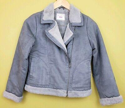 Childrens Place Girls Size L 10/12 Faux Suede Leather Coat Jacket Faux Fur Gray  Girls Faux Suede Jacket