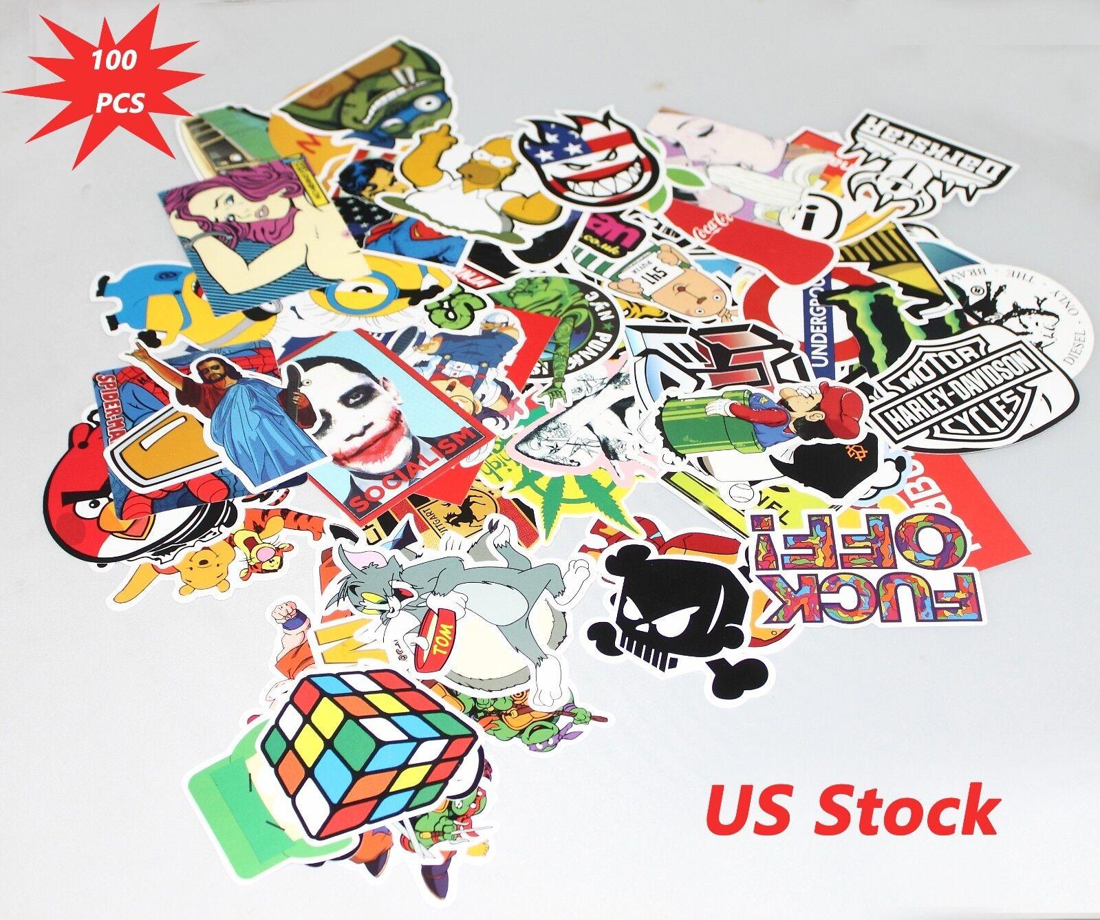 100pcs//lot Sticker Bomb Graffiti Vinyl Car Skate Skateboard Laptop Luggage Decal
