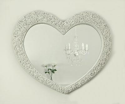 Rose Heart White Shabby Chic Shaped Wall Mirror 43 X 36