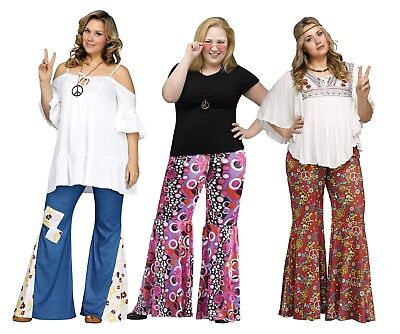 Adult Hippie Groovy Flower Child Bell Bottom Denim Peace Pants Costume Plus - Hippie Groovy