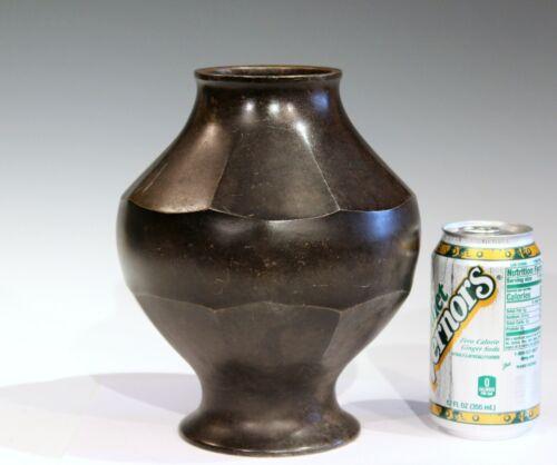 "Vintage Bronze Old Japanese Antique Patinated Faceted Verdigris Vase 8 1/2"""
