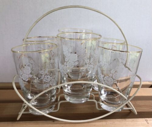 Vintage Libbey Tumblers and Caddy Carrier MCM Barware Highball Glasses Set of 6