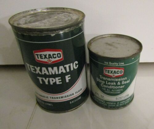 2 VINTAGE TEXACO CAN: TEXAMATIC TYPE F & TRANSMISSION STOP LEAK SEAL CONDITIONER