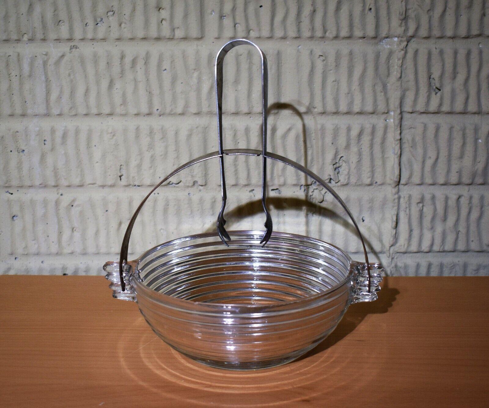 Manhattan Depression Glass Bowl With Metal Handle And Tongs - $8.99