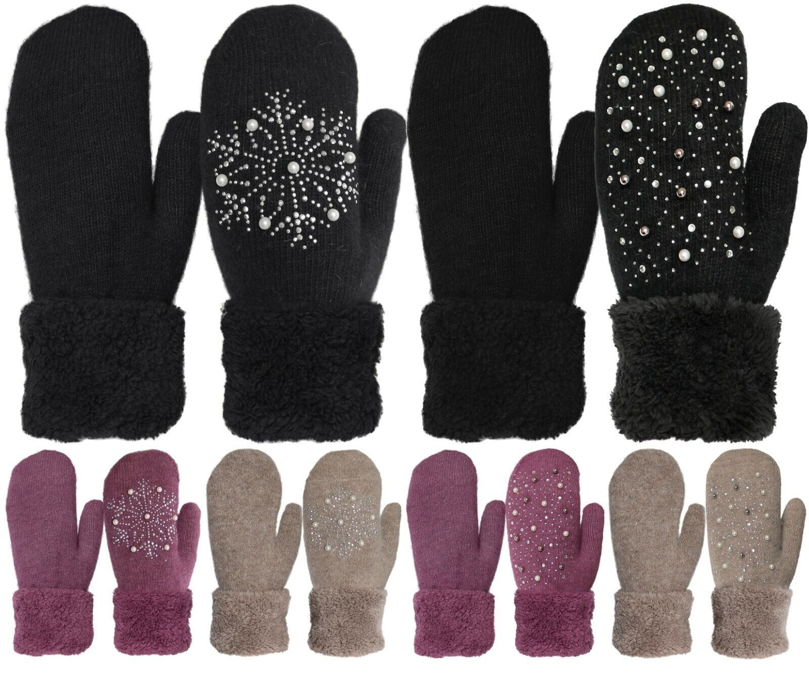 Wool Blend Plush Lined Cuffed Winter Knit Mittens Clothing, Shoes & Accessories