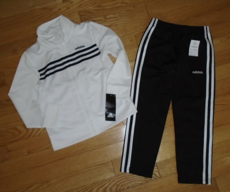 Adidas Boys Track Suit Athletic Pants Warm Up Jacket White Black 5 5T NWT