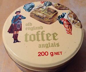 VINTAGE TIN CONTAINER OLD ENGLAND TOFFEE