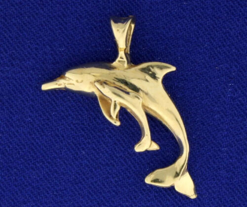 """Dolphin Mother/Child Pendant in yellow 14k gold 1"""" long & 1 1/8"""" long with bale"""