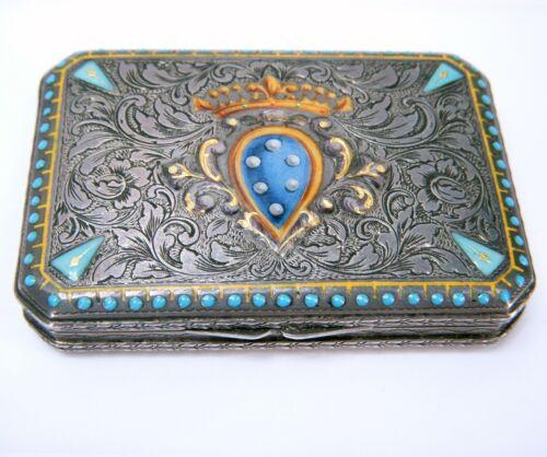 Antique Austria .800 Silver w/ Turquoise, Enamel, Gold Trinket Box Card Case