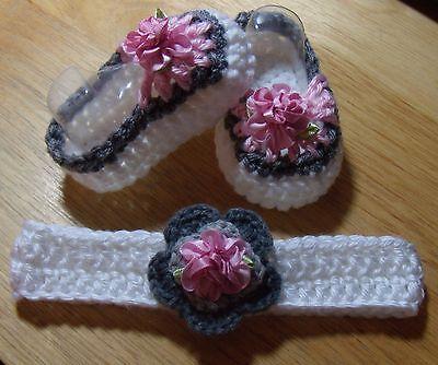 - Handmade Crochet Baby Girl Booties, Head Band White ,Pink Gray  Newborn 3 Months