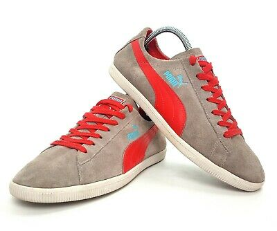 Puma Glyde Lo Trainer Grey Suede & Red #35405011 Retro UK 7 EU 40.5