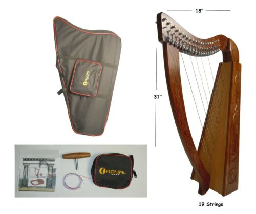 19 Strings Lever Harp Hand Made, With free Bag,  Strings and Tuning Key
