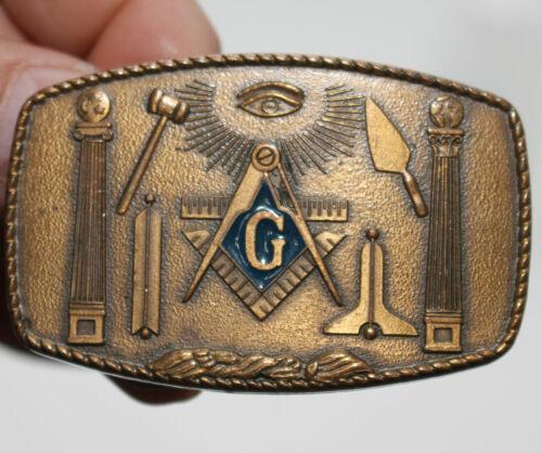 VINTAGE Masonic Brass Buckle FreeMason Symbols H. Klitzner Providence RI 1981