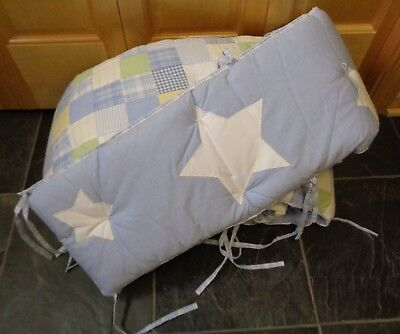 Pottery Barn Kids Blue Stars & Gingham Checked Quilted Nursery Bumper Pad Crib for sale  Lindstrom