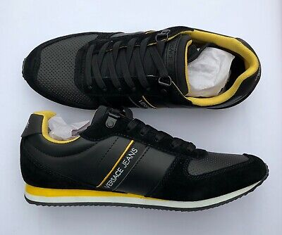 VERSACE JEANS Black Versace Logo Trainers Sneakers Runners UK 10 EU 44 BNIB