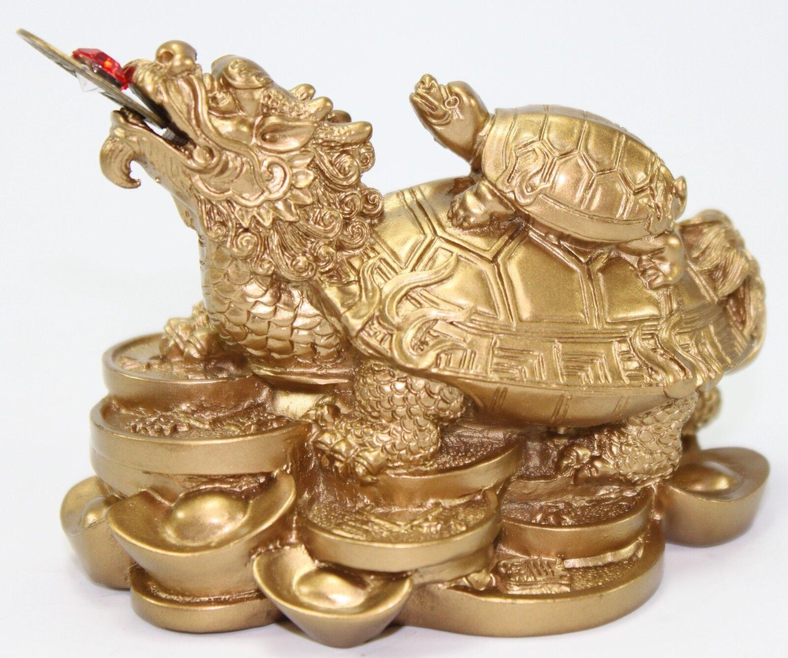 feng shui dragon turtle gold statue fortune symbol mythical animal figurine gift ebay. Black Bedroom Furniture Sets. Home Design Ideas