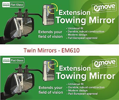 Towing Mirrors FLAT Glass - Caravan Wing Mirror 2 X  EM610