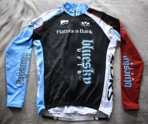 VOLER Thermal Fleece Lined Long Sleeved Cycling Jersey Mens Large Blue Race