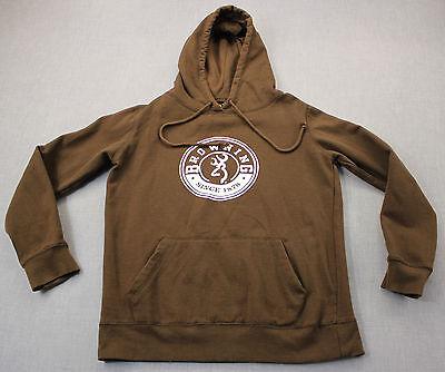 Browning Logo Womens Brown Fleece Lined Sweatshirt Hoody Pre-Owned  S Browning Lined Fleece