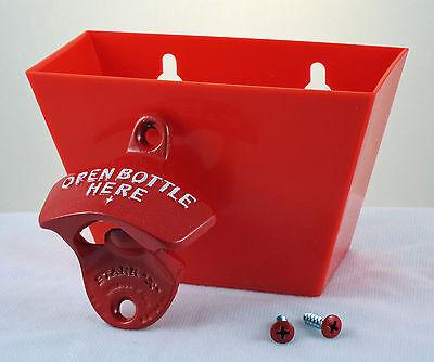 Red OPEN BOTTLE HERE Combo Starr X Wall Mount Bottle Opener /Plastic Cap Catcher