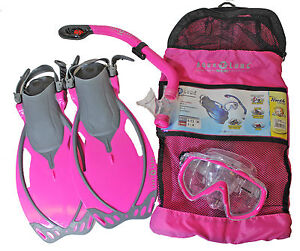 Aqua-Lung-Youth-Series-Kids-Mask-Fins-Snorkel-Set-Pink-Fin-Size-9-13-Small