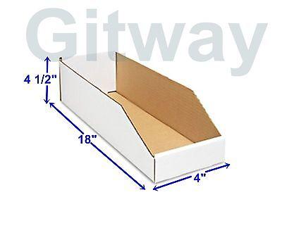 50- 4 X 18 X 4 12 Corrugated Cardboard Open Top Storage Parts Bin Bins Boxes