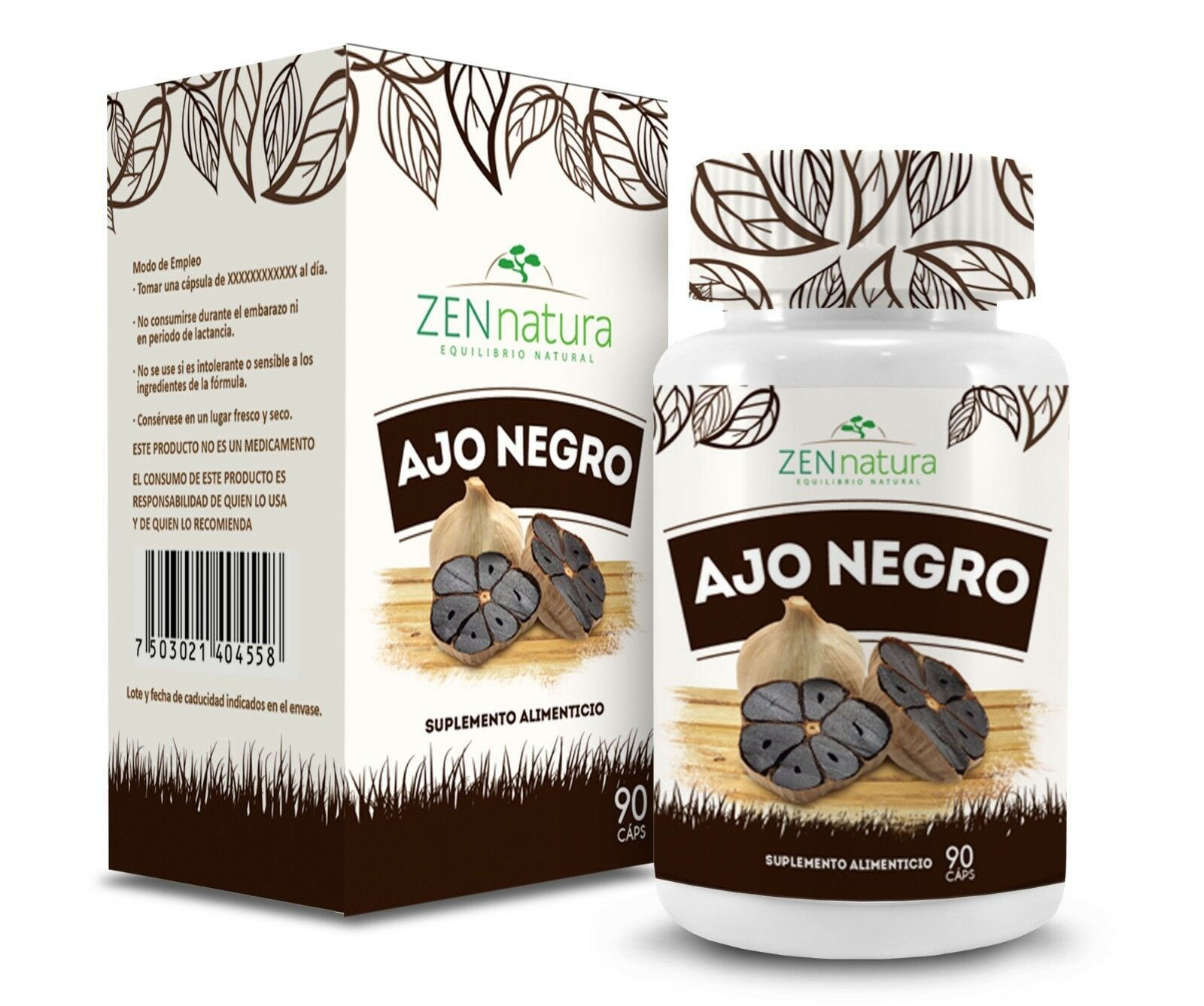 Zen Natura Ajo Negro Suplemento, Aged Black Garlic Supplement, from Mexico