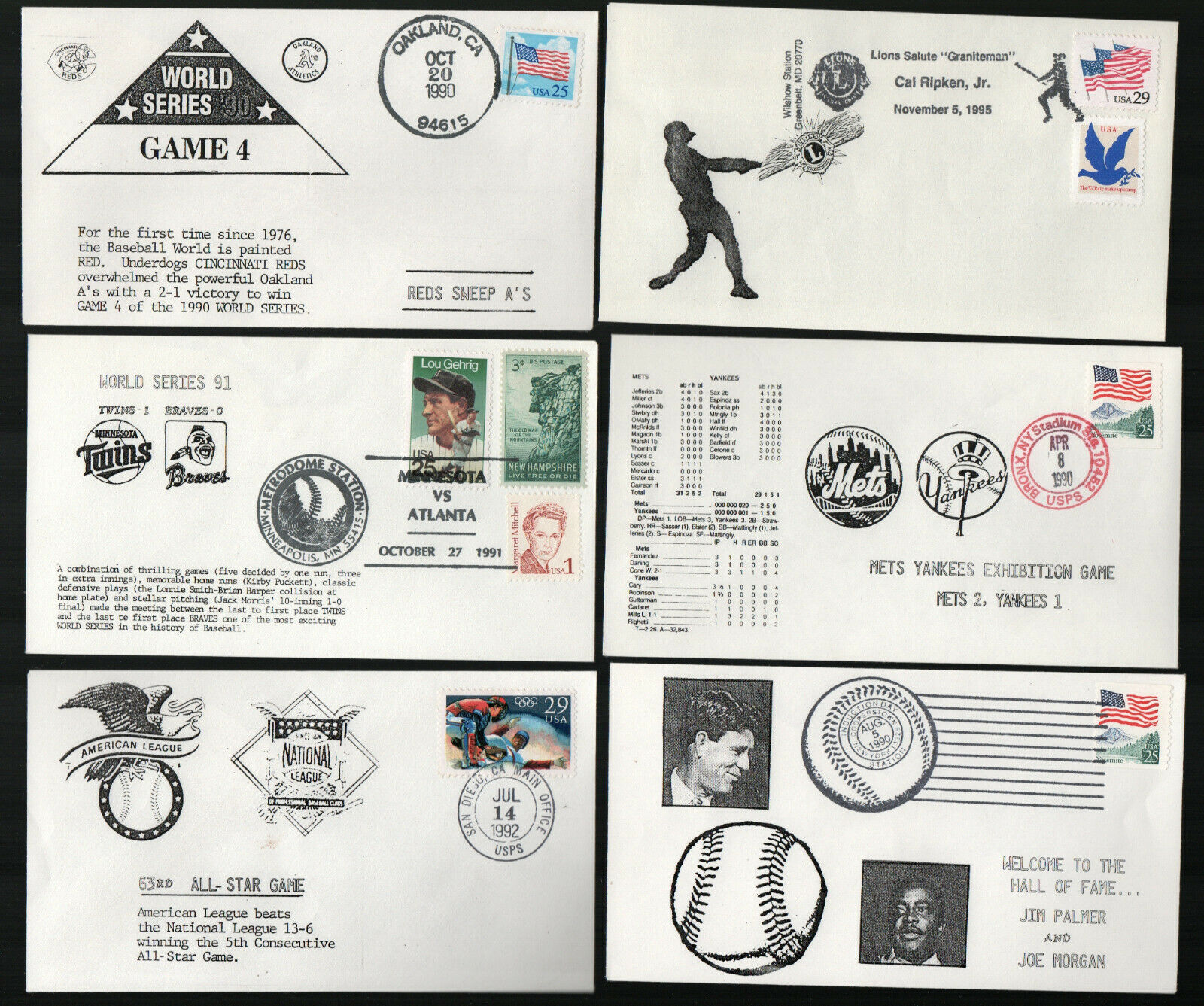 Fantastic collectioni of 16 professional baseball event covers 1989-1995 g553