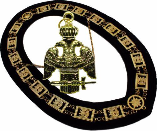 33 Degree Masonic COLLAR Regalia  WINGS DOWN SCOTTISH RITE + PENDANT
