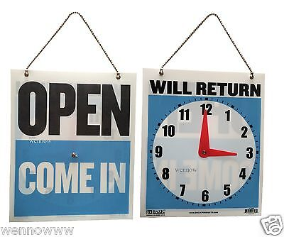 Open Come In Back Will Return Moveable Clock W Hanging Chain 7.5x 9 New Sign