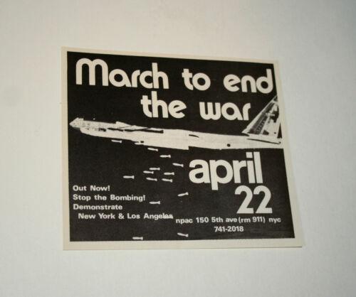 1960s 70s Anti Vietnam End War Protest B52 Bomber Bombing Mini Poster NOS New