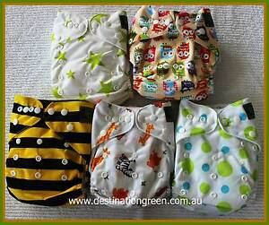 New Cute Reusable/Modern Cloth Nappies inc 5 nappies+10 inserts Beacon Hill Manly Area Preview