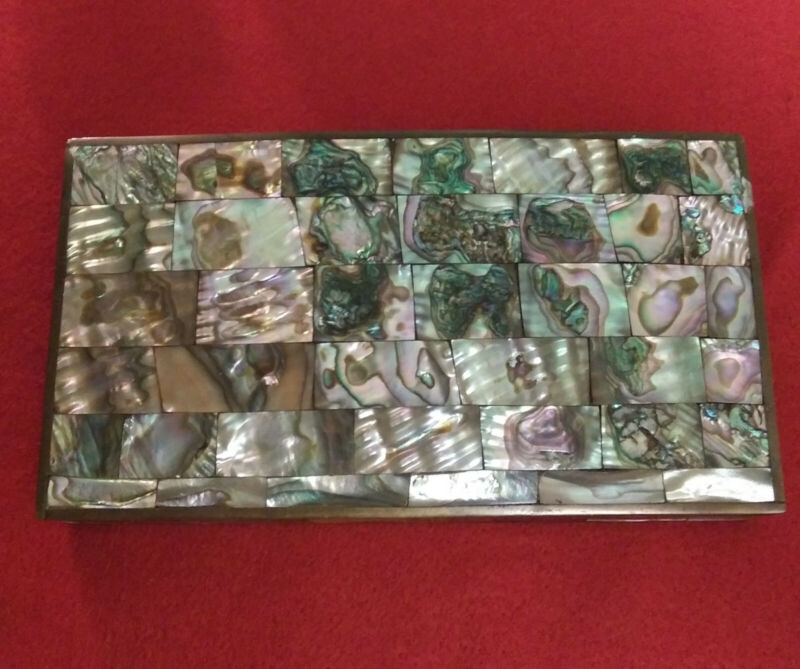 """MEXICAN SILVER ABALONE SHELL JEWELRY / TRINKET BOX 7"""" X 4"""""""