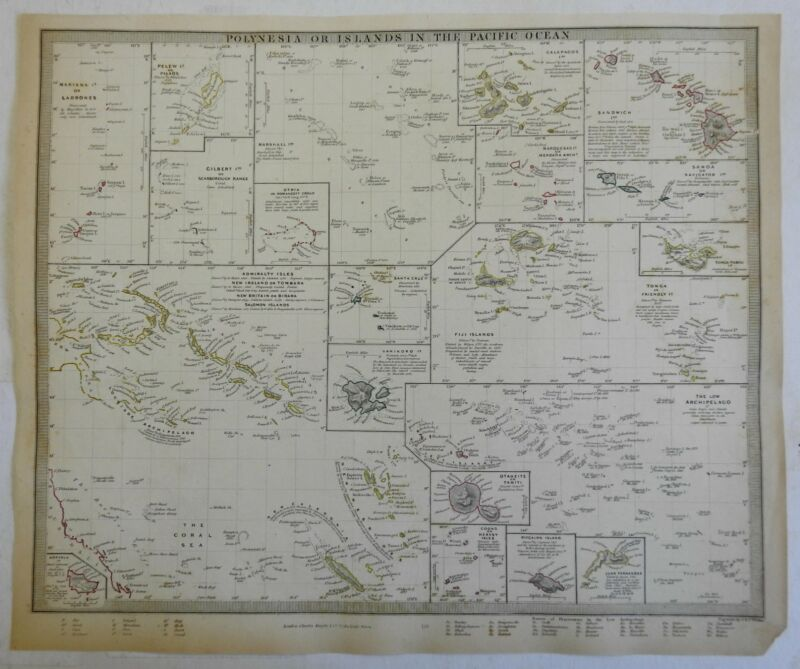 Polynesia Islands of the Pacific Hawaii Samoac. 1840 SDUK detailed antique map