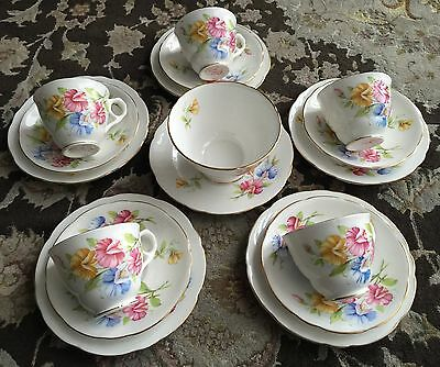 "Vintage 17 Piece Royal Stafford ""Sweetpea"" English Bone China Tea Set"