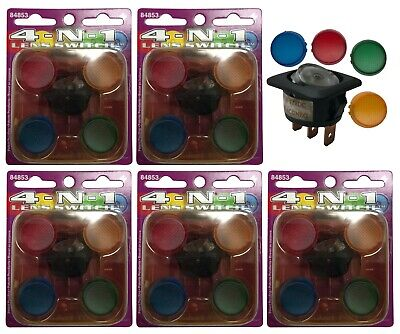 5 Illuminating Rocker Switch 4-in-1 Lens Kit 12v 20a - Red Yellow Blue Green