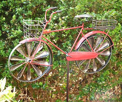 Herren Fahrrad Windrad Windspiel Deko neu Gartenstecker rot shabby chic Metall