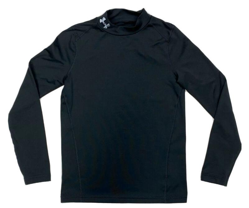 Under Armour Big Boys ColdGear Mock Long Sleeve Base Layer Shirt Black YSM S EUC