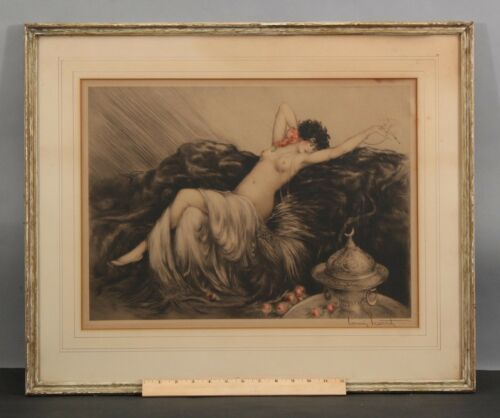 Authentic Pencil Signed 1925 Louis Icart Art Deco Nude Woman Fumee Etching NR