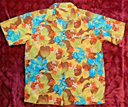 Vintage RARE Kamehameha HAWAIIAN Tropical Flower Shirt, Kane Size L