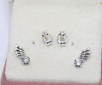 AUTHENTIC PANDORA Sparkling Angel Wing Stud Earrings, 298501C01      #1916