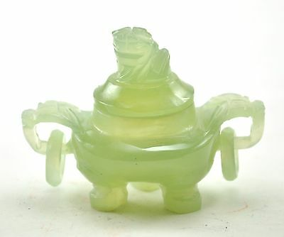 "Vintage Green Serpentine Jade Incense Burner Pot 3"" Miniature Foo Dog with Ring"