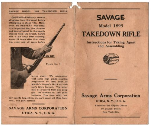 Savage Rifle Model 1899 Takedown Assembly Instructions ORIGINAL - NO REPODUCTION