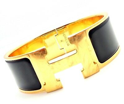 Rare! Authentic Hermes Paris Clik Clak Black Enamel Bangle Bracelet H 7.25""