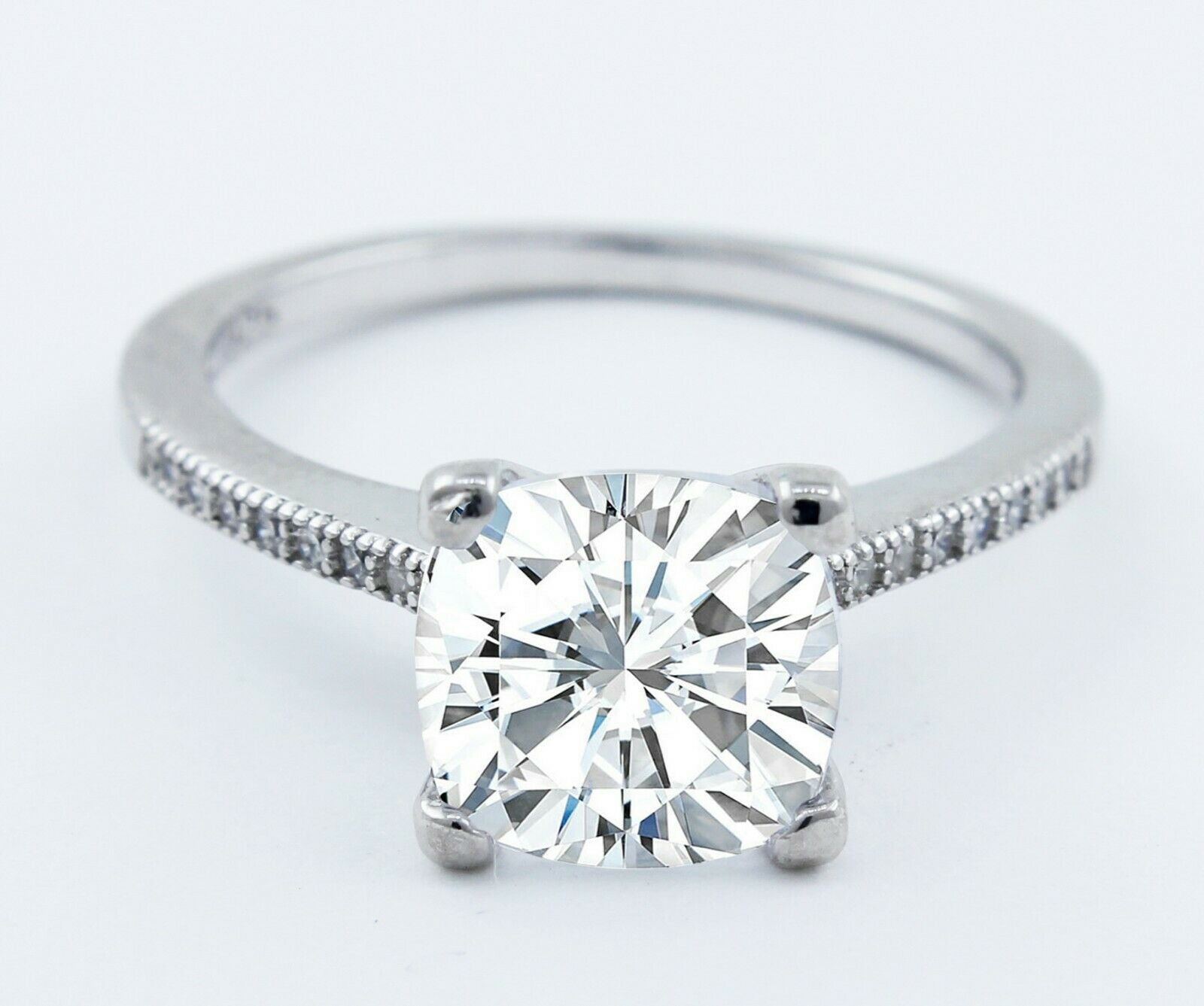 GIA Certified Diamond Engagement Ring in 18k Gold 1.31ctw  Cushion & Round Cut